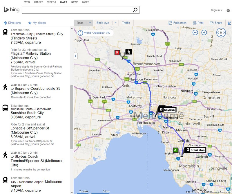 Bing Maps: Public transport planning