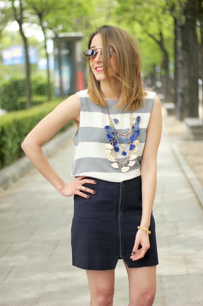 Blue Skirt Striped Top fringed sandals07