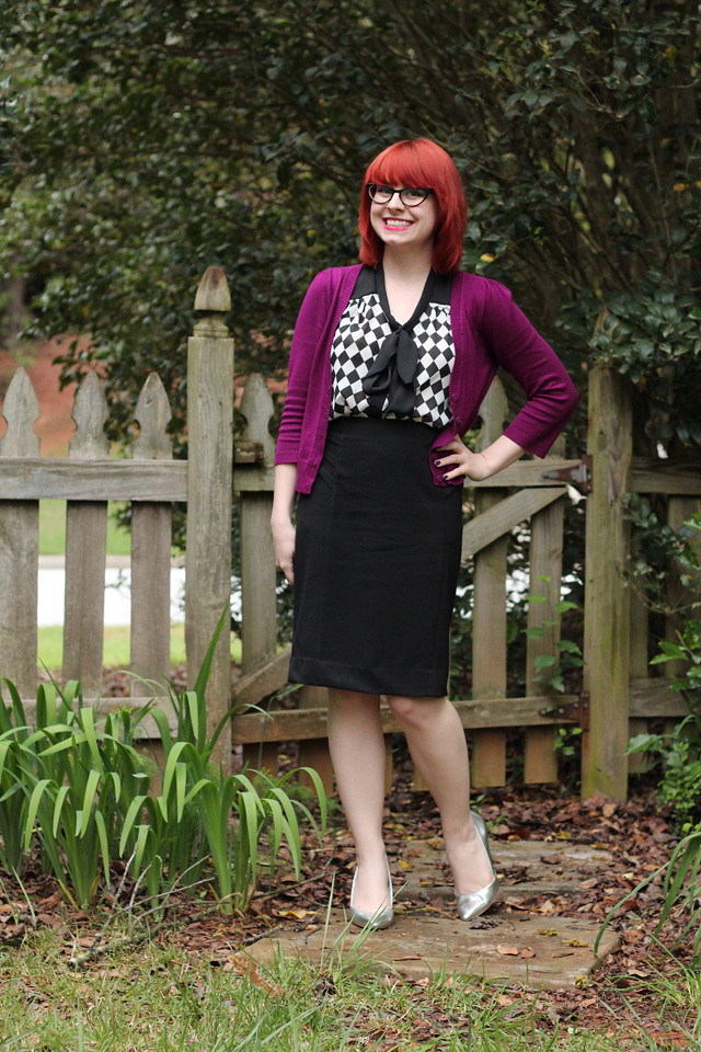 Work Outfit: Purple Cardigan, Checkerboard Print Top, Black Pencil Skirt, and Silver Heels
