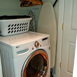 Top of the line washer dryer combo in apartment.  Building also has laundry room