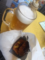 Draft beer (large), ham cutlet, and minced meat cutlet at Niku no Oyama