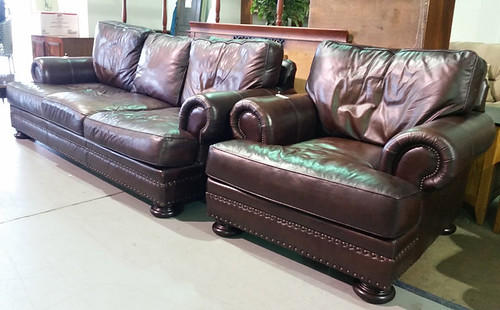 Leather chair $375, couch $550