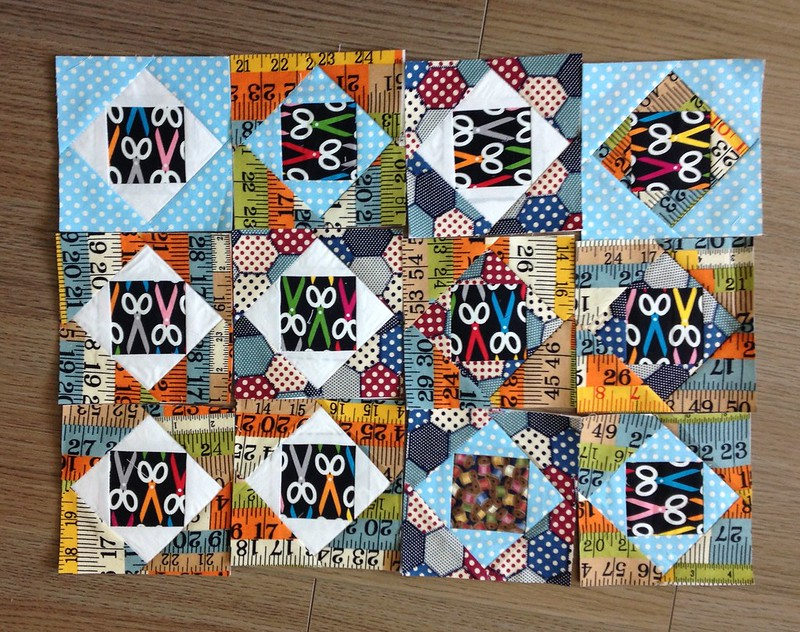Fussy cut squares sewing theme