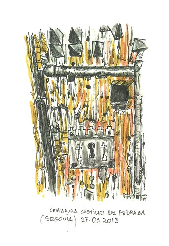 Cerradura de la puerta del castillo de Pedraza (Segovia)