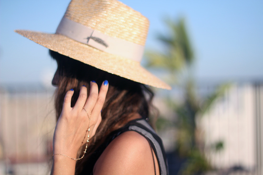 Striped jumpsuit, My Jewelry Bar hand chain, Lily Platform Sandals, Coconut purse, Brixton wide brim straw hat