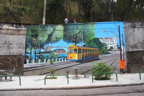 IMG_0443/Brazil/ Rio De Janeiro/Bonde Tram Paint on Wall/Santa Térésa