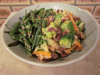 Veggie Fried Rice with Black Soy; Szechuan Green Beans