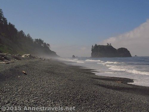 The mist rises from Ruby Beach, Olympic National Park, Washington