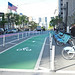 Protected bike lanes on Market Street with rental by Kyle Kutuchief