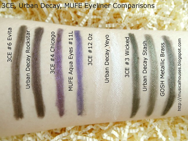 3CE Urban Decay MUFE Creamy Waterproof Eyeliner Swatches Dupes Comparisons