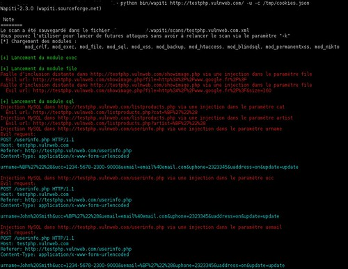 Wapiti - Web Application Vulnerability Scanner v2.3.0