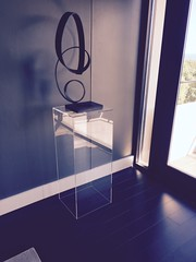 Clear Acrylic Pedestal with Curved Sculpture