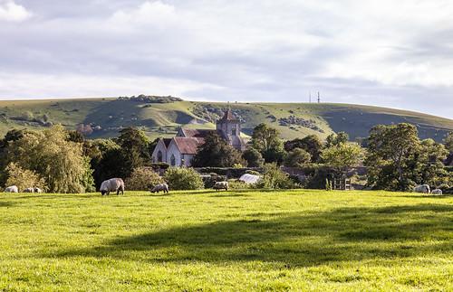 england green landscape sussex spring europe may hills southdowns unchanged firle sssi sheepgrazing westfirle firleplace 13thcenturychurch stpeterschurchfirle firleestate firleescarpment