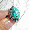 "intage Artist Signed Navajo Sterling Silver Turquoise Nugget Ring - Marked ""CORTEZ H"""