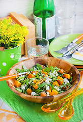 Butternut squah, arugula, couscous and feta salad