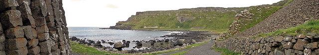 A panorama of the walk along Giant's Causeway in Ireland, UK