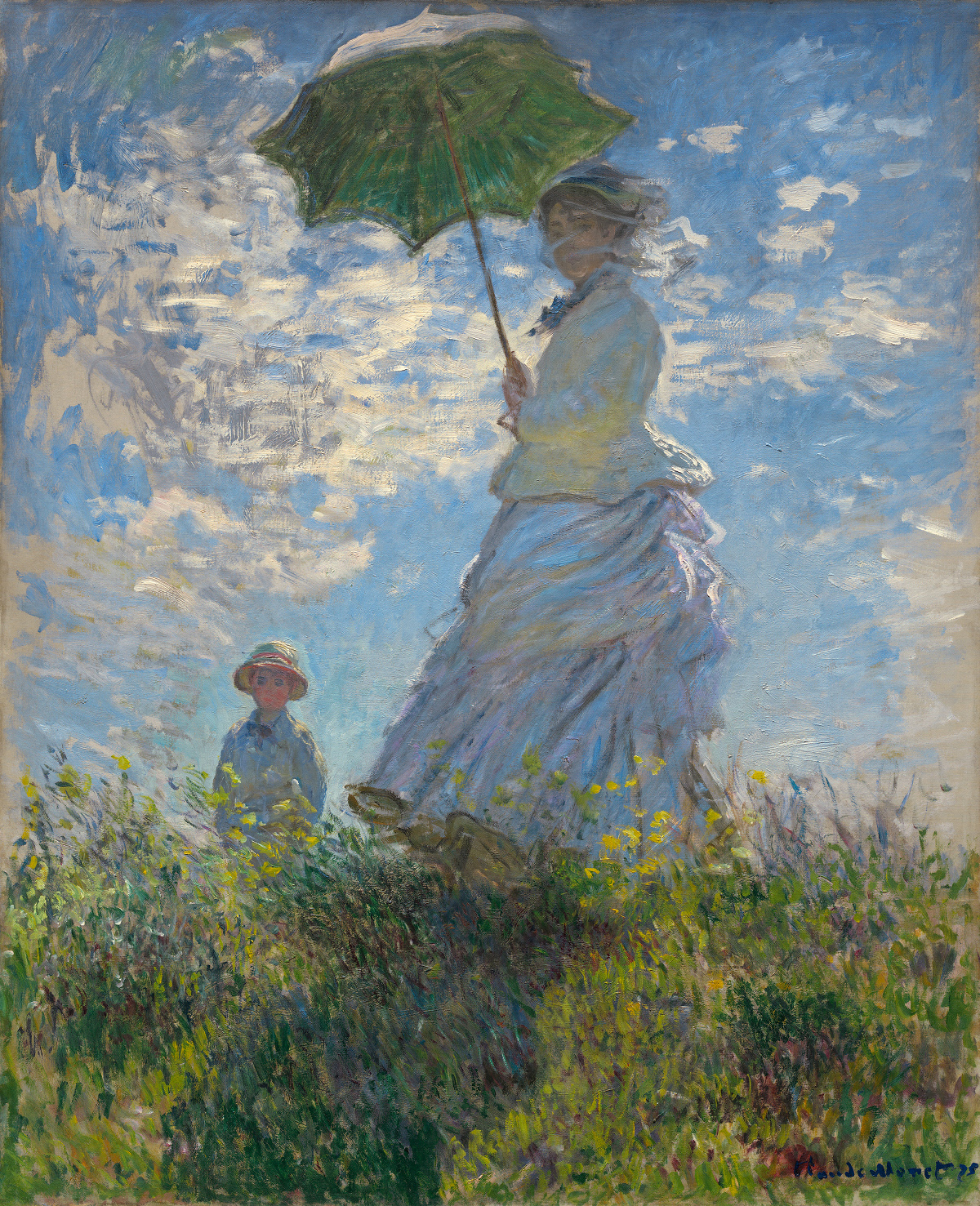 Woman with a Parasol - Madame Monet and Her Son by Claude Monet, 1875