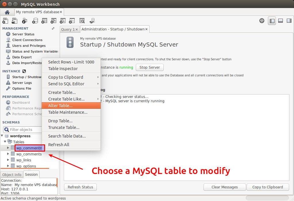 MySQL Workbench - Modify MySQL Table