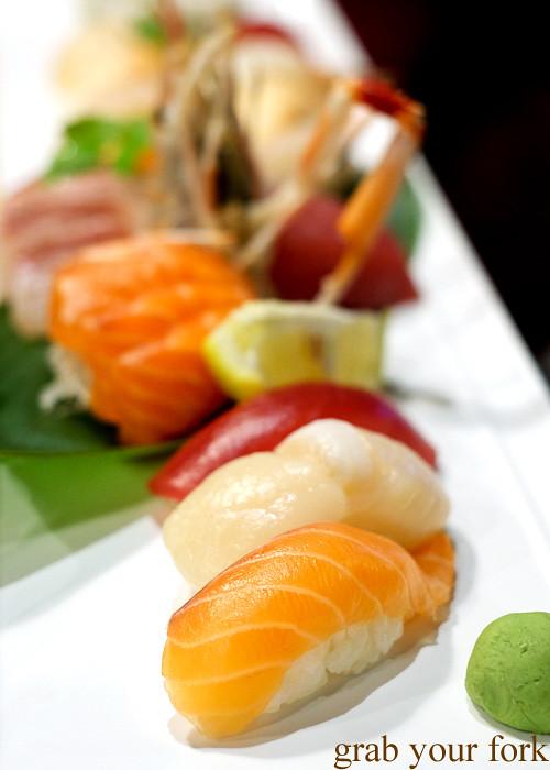 Salmon nigiri sushi at Ashin, Campsie