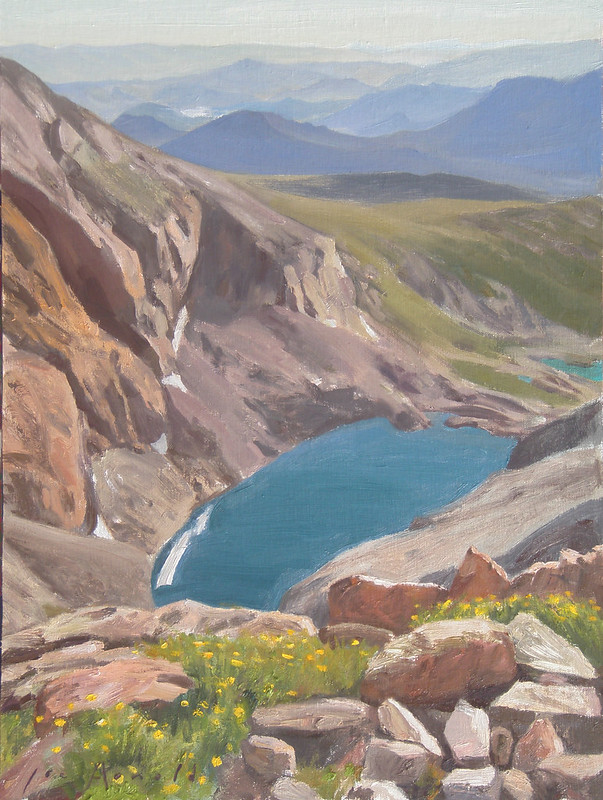 Oil on Linen | Broadway Ledge is the ledge that cuts across the steep east face of Long's Peak, (also known as the Diamond).This view looks down toward Chasm Lake, about 1,000 feet below.
