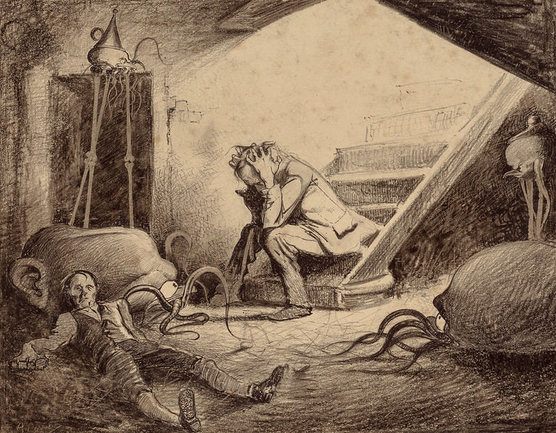 "HENRIQUE ALVIM CORRÊA - Death of Curate, from The War of the Worlds, Belgium edition, 1906 (illustration is featured in Book I- The Coming of the Martians, Chapter X- ""In the Storm,"")"