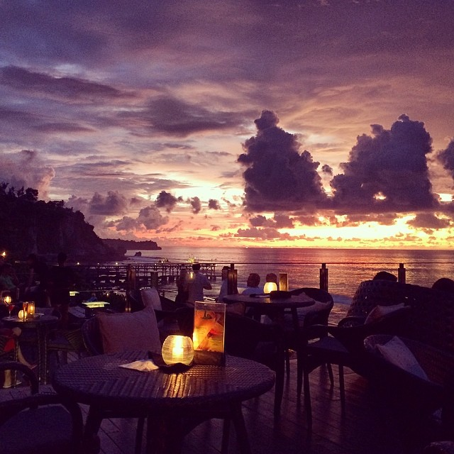 Sunset dining @ magic hour, Bali-style. Beautiful! #rockbar #bali #indonesia #travel