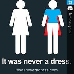 #Repost @femthoughts ・・・ 'I'm female, what's your super power?' #itwasneveradress #onceyouseeityoucantunseeit #endgenderroles #feminism #femthoughts by angealcorn
