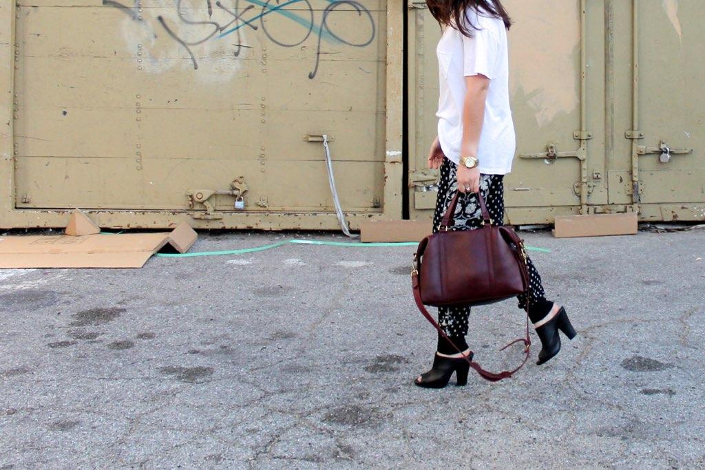 printed pants and heels