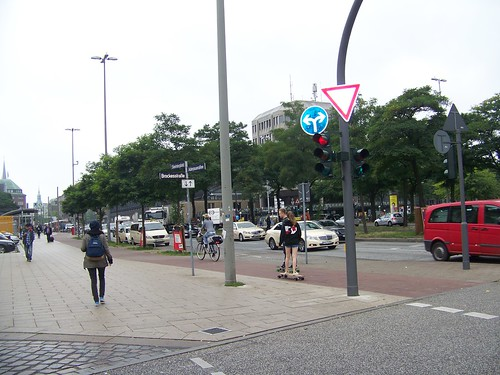 "Bicycle lane,marked in red pavers, ""on the sidewalk"" in Hamburg, Germany"