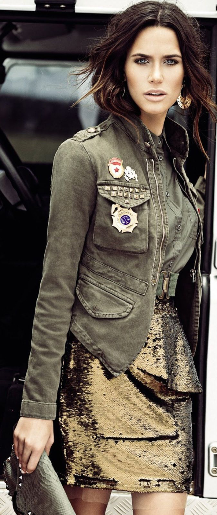 Military style green olive street style inspiration06