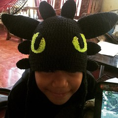 A good kid deserves a #NightFury earflap hat ♡♥♡ #Toothless #ToothlessHat #crochet