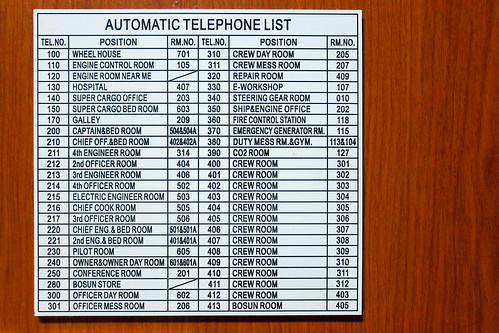 Liste de téléphone pour le navire cargo