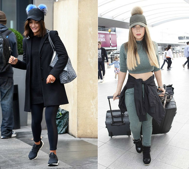 skinny- joggers-baseball-with-furry-pom-pom-on-top-black-hi-top-strap-trainers-Pom-poms-baseball-cap-black-leggings-matching-longline-jumper-long-tailored-coat-black-Charlotte-Simone-Sass-baseball-cap-with-two-blue-grey-pom-poms-khaki-green-long-sleeved-c