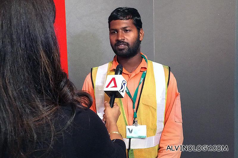 Muthukumar being interviewed by Kavitha Ramu of CNA.