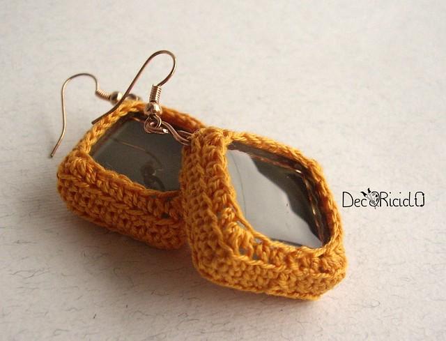 orecchini tessere mosaico grigio-arancio 2