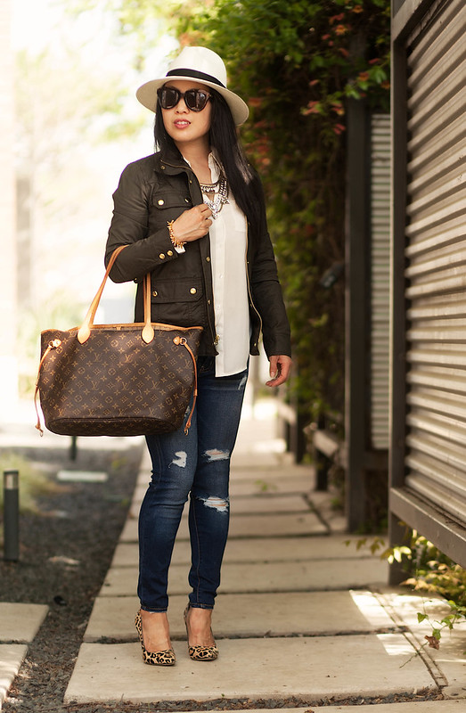 j.crew downtown field jacket, baublebar grendel bib, distressed jeans, panama hat, leopard pumps, lv neverfull mm | spring outfit