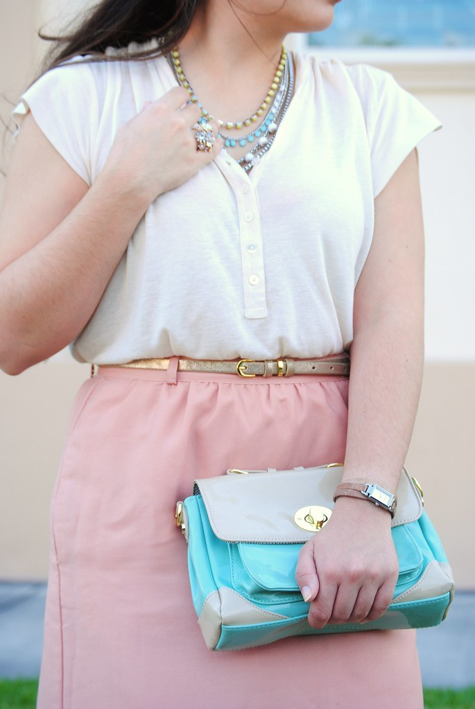 spring pastel outfit modest style