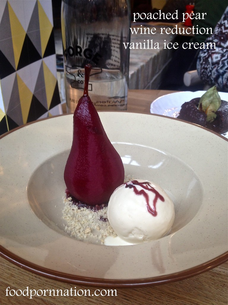 poached pear, red wine reduction, vanilla ice cream - Forge & Co, Shoreditch - London Food Blog