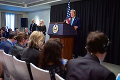 U.S. Secretary of State John Kerry addresses reporters during a news conference after meeting with Kenyan government leaders, opposition leaders, representatives of the United Nations High Commissioner for Refugees, and Somali refugees in the Dadaab Refugee Camp while visiting Nairobi, Kenya, on May 4, 2015. [State Department Photo/Public Domain]