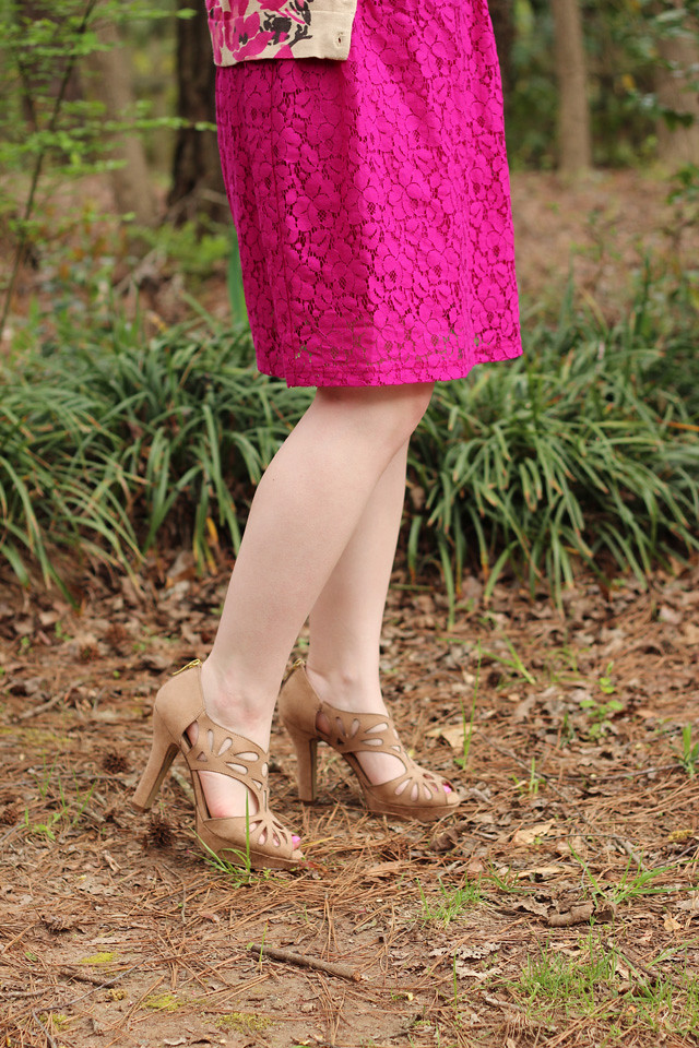 Nude Peeptoe Sandal Heels, Pink Dress