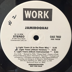 JAMIROQUAI:LIGHT YEARS(LABEL SIDE-B)
