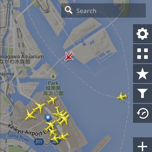 フライトレーダーで機体を確認しつつ