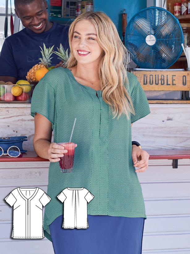 plus size blouse sewing pattern 129-062016-B