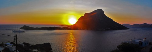 greece dodecanese island kalymnos telendos sea sunset sky summer sun panorama colorful colors