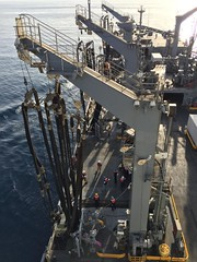 USNS John Ericsson's crew prepare for a RAS with HNLMS Tromp
