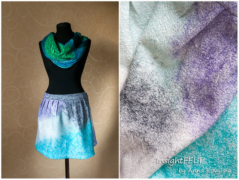 Nuno felted skirt of silk and wool