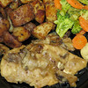 Chicken marsala with roasted potatoes and mixed vegetables