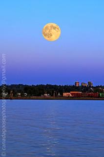Moonrise at sunset time