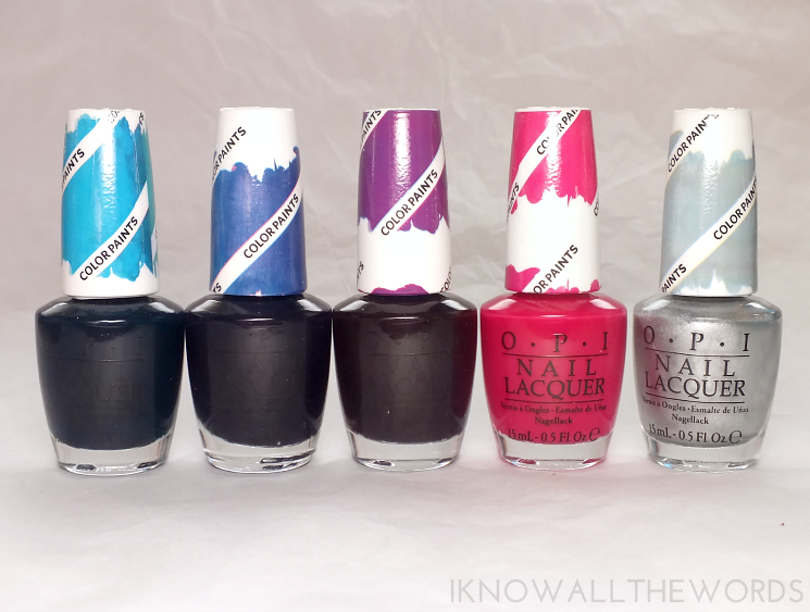 opi colour paints turquoise aesthetic, indgo motif, purple perspective, pen & pink, and silver canvas bottles