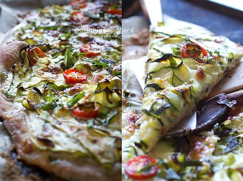 Pizza zucchini mozzarella and mint, light and yummy - Pizza courgette mozzarella menthe, gourmandise toute en subtilité.